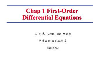 Chap 1 First-Order Differential Equations