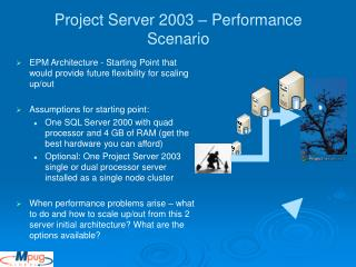 Project Server 2003 – Performance Scenario