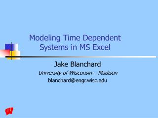 Modeling Time Dependent Systems in MS Excel