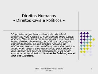 Direitos Humanos - Direitos Civis e Políticos -