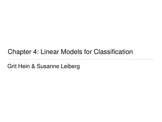 Chapter 4: Linear Models for Classification