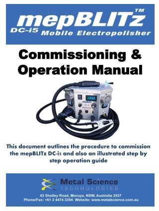 Commissioning & Operation Manual