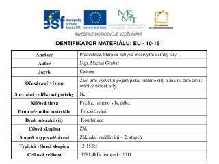 IDENTIFIKÁTOR MATERIÁLU: EU - 10-16