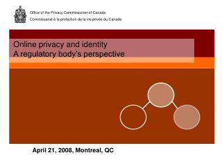 Online privacy and identity A regulatory body's perspective