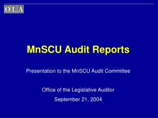 MnSCU Audit Reports