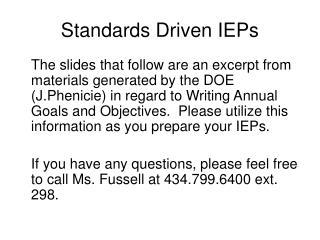 Standards Driven IEPs