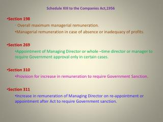 Schedule XIII to the Companies Act,1956