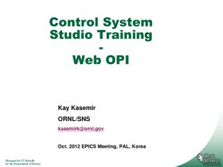 Control System Studio Training - Web OPI