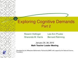 Exploring Cognitive Demands Part 2