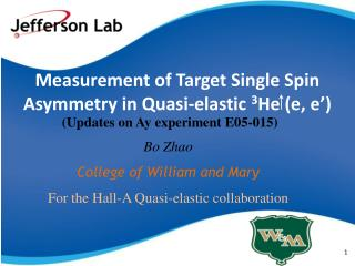 Measurement of Target Single Spin Asymmetry in Quasi-elastic  3 He (e, e')