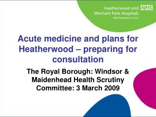 The Royal Borough: Windsor & Maidenhead Health Scrutiny Committee: 3 March 2009