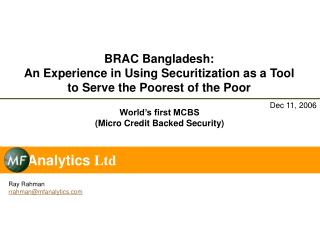 BRAC Bangladesh: An Experience in Using Securitization as a Tool to Serve the Poorest of the Poor