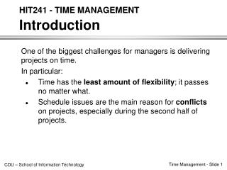 HIT241 - TIME MANAGEMENT Introduction
