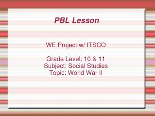 PBL Lesson
