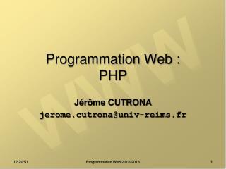 Programmation Web : PHP