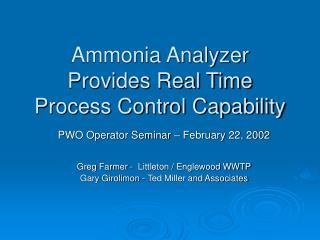 Ammonia Analyzer Provides Real Time Process Control Capability