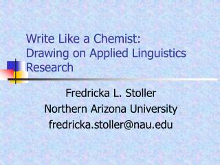 Write Like a Chemist:  Drawing on Applied Linguistics Research