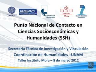 Punto Nacional de Contacto en  Ciencias  Socioeconómicas y Humanidades  (SSH)
