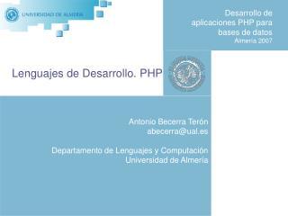 Desarrollo de aplicaciones PHP para bases de datos  Almería 2007