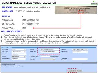 MODEL NAME & SET SERIAL NUMBER VALIDATION