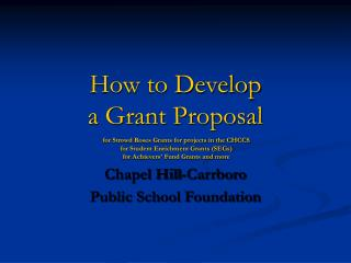 How to Develop  a Grant Proposal