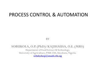 PROCESS CONTROL & AUTOMATION