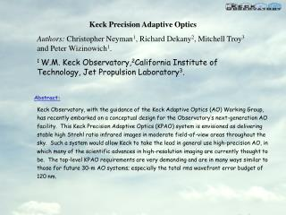 Keck Precision Adaptive Optics