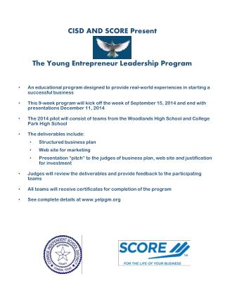 CISD AND SCORE Present The Young Entrepreneur Leadership Program