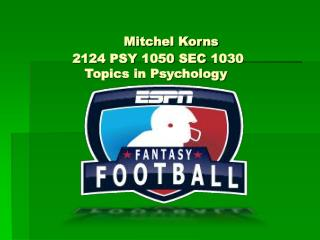 Mitchel Korns		  2124 PSY 1050 SEC 1030  Topics in Psychology