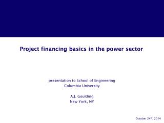 Project financing basics in the power sector