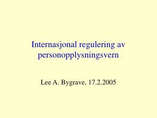Internasjonal regulering av personopplysningsvern