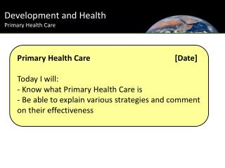 Development and Health Primary Health Care