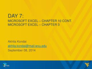 Day  7: MICROSOFT EXCEL – CHAPTER  10 Cont. MICROSOFT EXCEL – CHAPTER 3