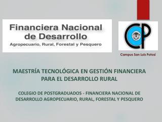 MAESTRÍA TECNOLÓGICA  EN GESTIÓN FINANCIERA PARA EL DESARROLLO  RURAL