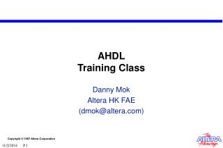 AHDL Training Class