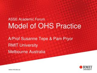 ASSE Academic Forum Model of OHS  Practice