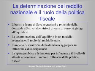 La determinazione del reddito nazionale e il ruolo della politica fiscale