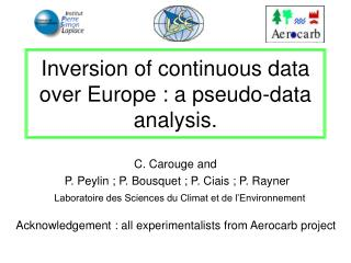 Inversion of continuous data over Europe : a pseudo-data analysis.