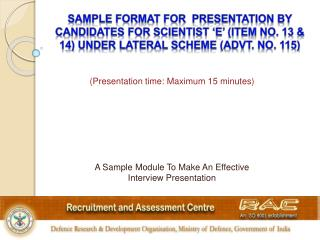 A Sample Module To Make An Effective Interview Presentation