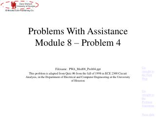 Problems With Assistance Module 8 – Problem 4