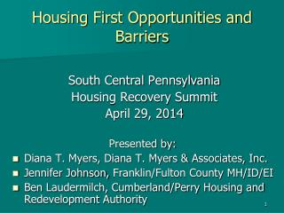 Housing First Opportunities and Barriers