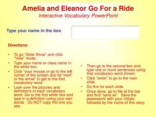 Amelia and Eleanor Go For a Ride Interactive Vocabulary PowerPoint