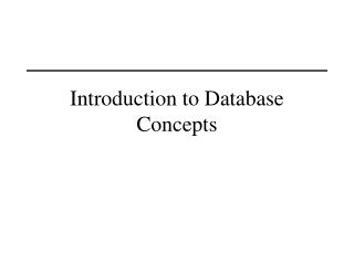 Introduction to Database Concepts