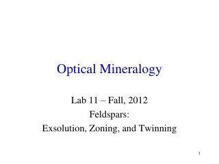 Optical Mineralogy