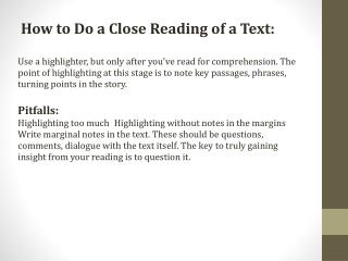 How to Do a Close Reading of a Text: