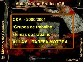 C&A  - 2000/2001  Grupos de trabalho Temas do trabalho AULA 6 – TAREFA MOTORA