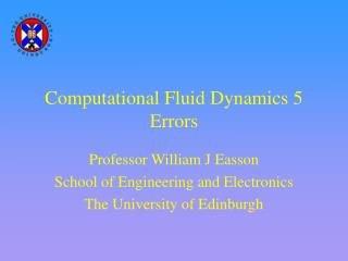 Computational Fluid Dynamics 5 Errors