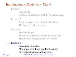 Introduction to Statistics  −  Day 4