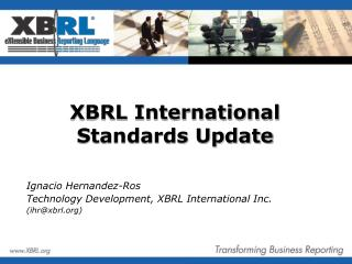 XBRL International Standards Update
