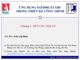 ỨNG DỤNG SAP2000, ETABS  TRONG THIẾT KẾ CÔNG TRÌNH